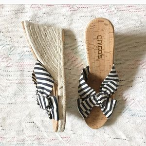Chico's Espadrilles Wedge Sandals Bow Striped Sz 9